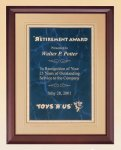 Cherry Finish Wood Plaque with Florentine Plate Recognition Plaques