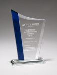 Zenith Series Jade Glass Award with Blue Glass Highlights Sales Awards