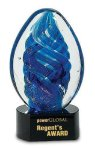 Blue Swirl Art Glass 6 on Black Crystal Base Laser Engraved Sales Awards