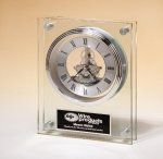 Large Glass Clock with Skeleton Movement Secretary Gift Awards