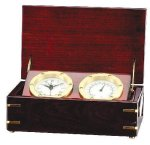 Clock and Thermometer in Rosewood Piano Finish Box Secretary Gifts