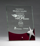 Glass Award with Silver Star and Rosewood Finish Base Square Rectangle Awards