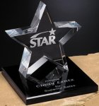 Tapered Star on Base Star Crystal Awards