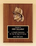 Fireman Award with Antique Bronze Finish Casting. Walnut Plaques