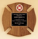 Maltese Cross Fireman Award Walnut Plaques