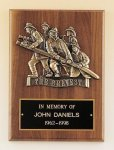 Fireman Plaque with Antique Bronze Finish Casting. Walnut Plaques